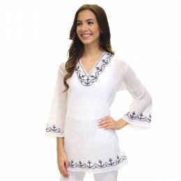 Dennis East White Anchor Tunic