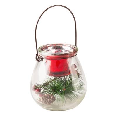 Filled Glass Tea Light Candle Holder