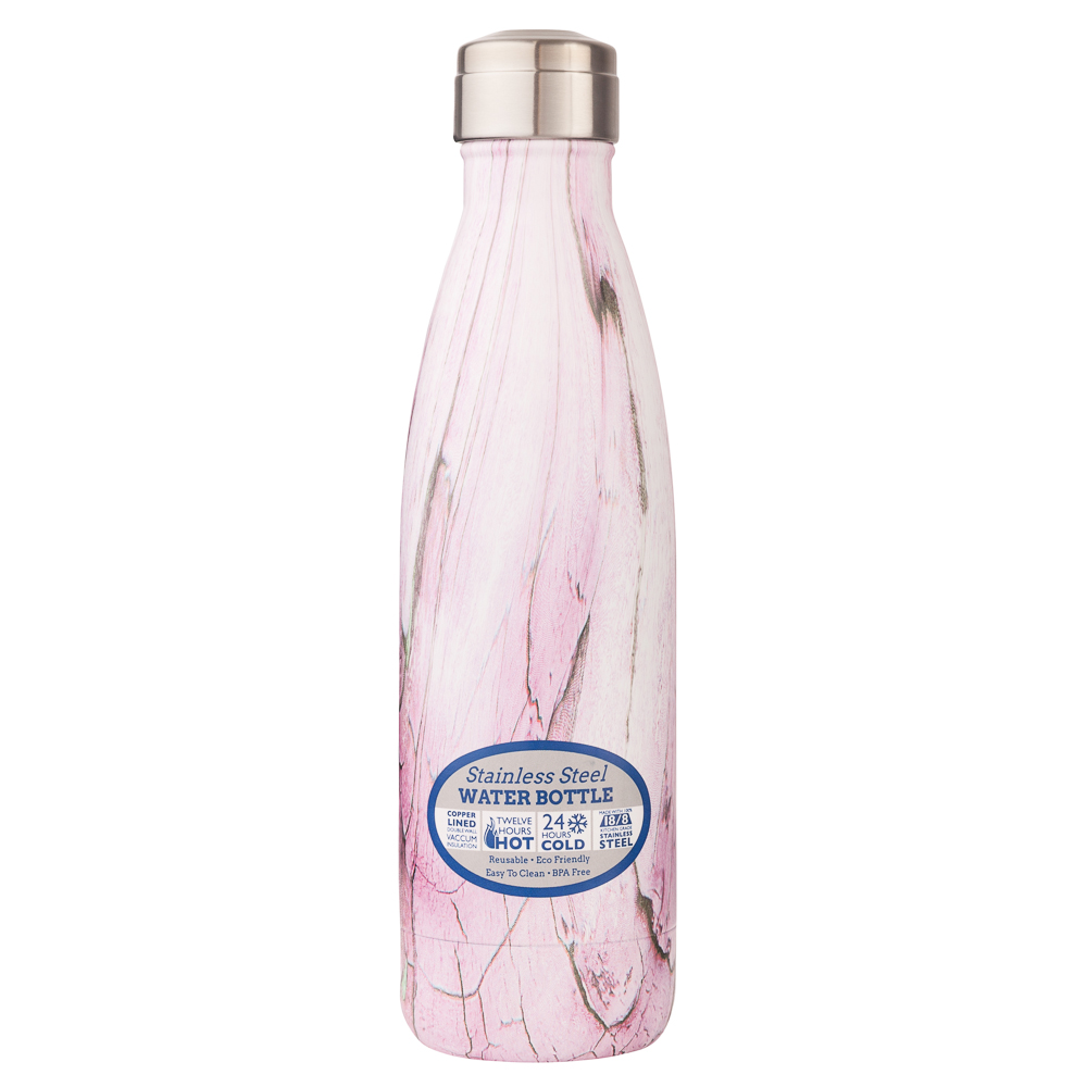 Dennis East Stainless Steel Water Bottle in Pink Marble