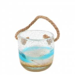 Dennis East Sand and Sea Bubble Glass Jar Votive Holder