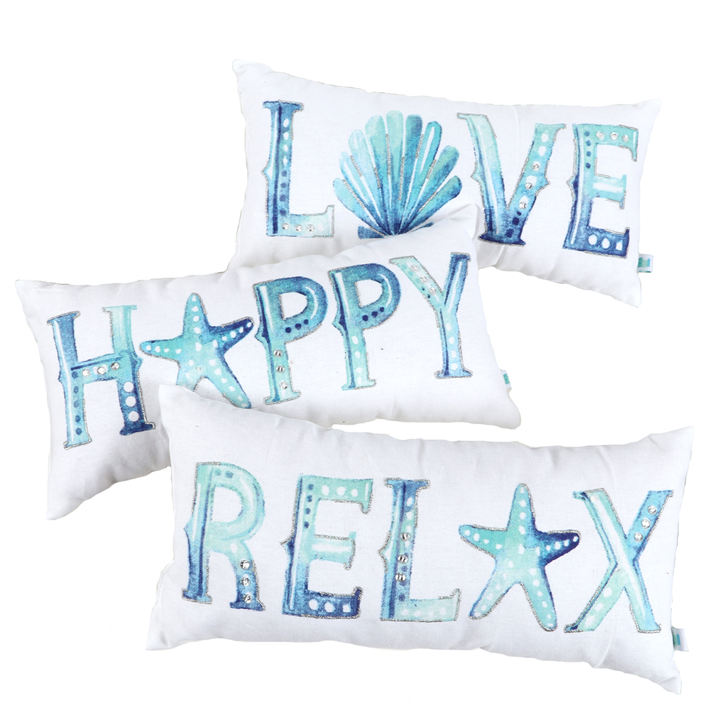 Dennis East Embroidered Watercolor Word Pillow (Assorted)