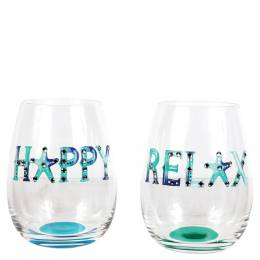 Dennis East Watercolor Words Stemless Wine Glass (Assorted)