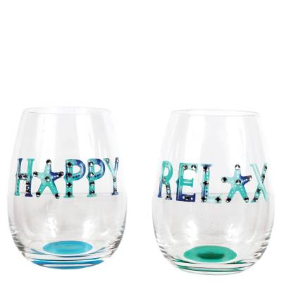 Watercolor Words Stemless Wine Glass (Assorted)