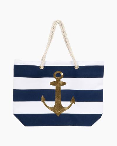 Gold Anchor Striped Tote Bag