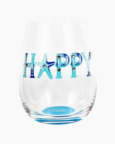 Happy Beach Watercolors Stemless Wine Glass