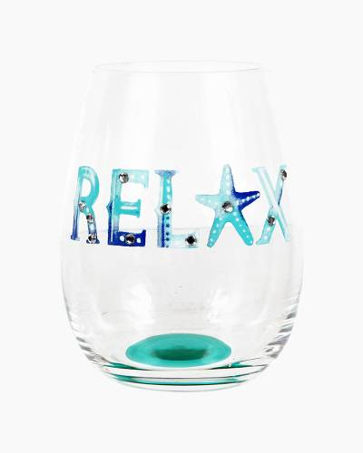 Relax Beach Watercolors Stemless Wine Glass