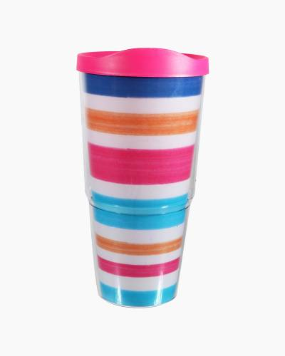 Multi-Color Stripe Tumbler with Lid