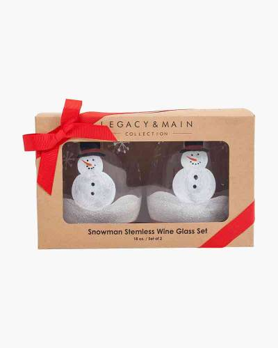 Snowman Stemless Wine Glass Set