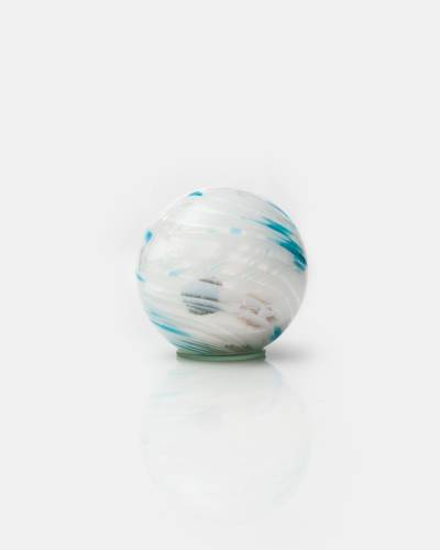 Beach in a Glass Orb (Aqua and White)