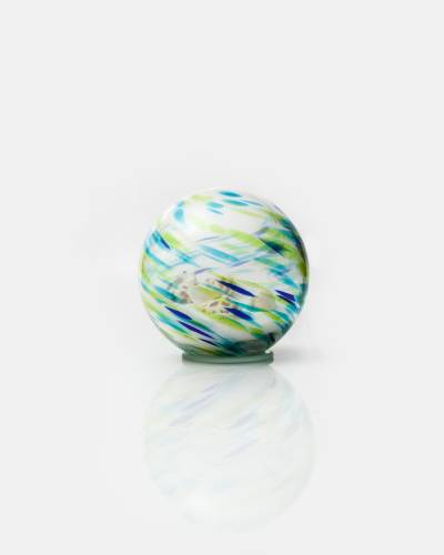 Sand and Shell Glass Orb (Navy and Green)