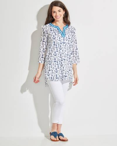 Cotton Crepe Anchor Print Tunic in White