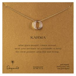 Dogeared Mixed Metal Triple Karma Ring Gold Necklace
