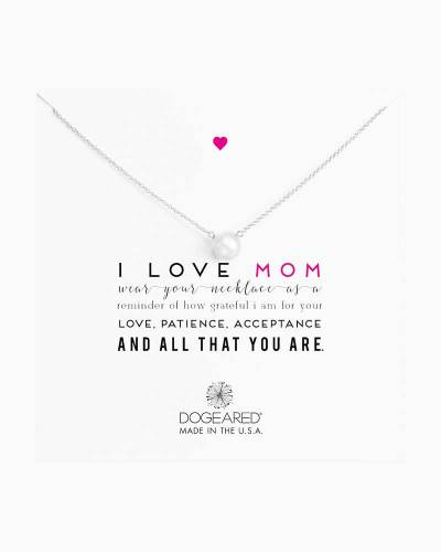 Sterling Silver I Love Mom Pearl Necklace