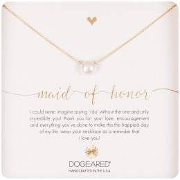Dogeared Gold Dipped Maid of Honor Small Pearl Necklace