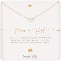Dogeared Gold Dipped Flower Girl Small Pearl Necklace