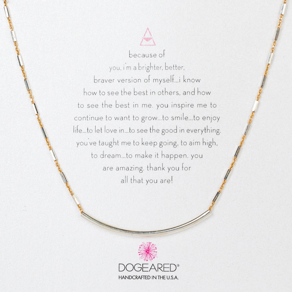 Dogeared Two-Tone Balance Curved Tube Necklace