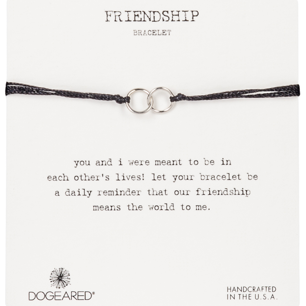Dogeared Double Linked Sterling Silver Rings Friendship Bracelet in Black