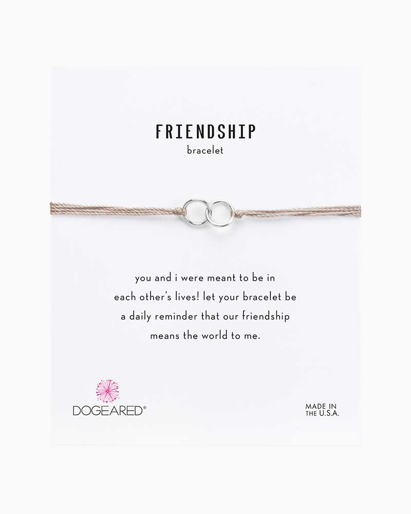 Dogeared Double Linked Sterling Silver Rings Friendship Bracelet in Taupe