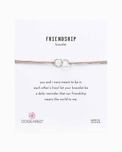 Double Linked Sterling Silver Rings Friendship Bracelet in Taupe