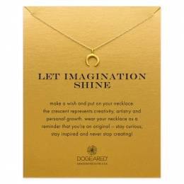 Dogeared Let Imagination Shine Crescent Gold-Dipped Necklace