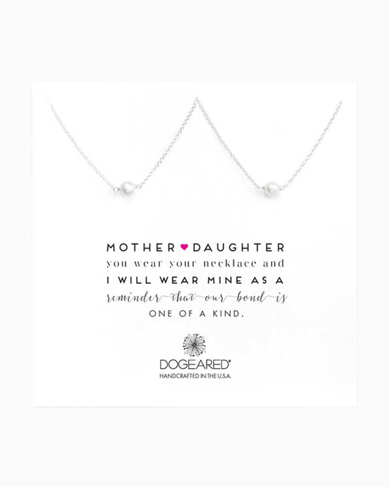 Dogeared Mother and Daughter Small Pearl Necklaces in Sterling Silver