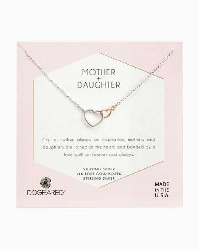 Mother + Daughter Linked Hearts Necklace in Rose Gold