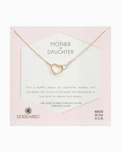 Mother + Daughter Linked Hearts Necklace in Gold