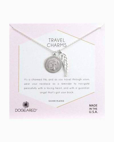 Silver Plated Travel Charms Guardian Angel and Angel Wing Necklace