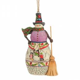 Jim Shore Snowman Winter Scene with Broom Hanging Ornament