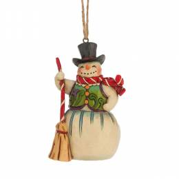 Jim Shore Snowman with Broom Hanging Ornament