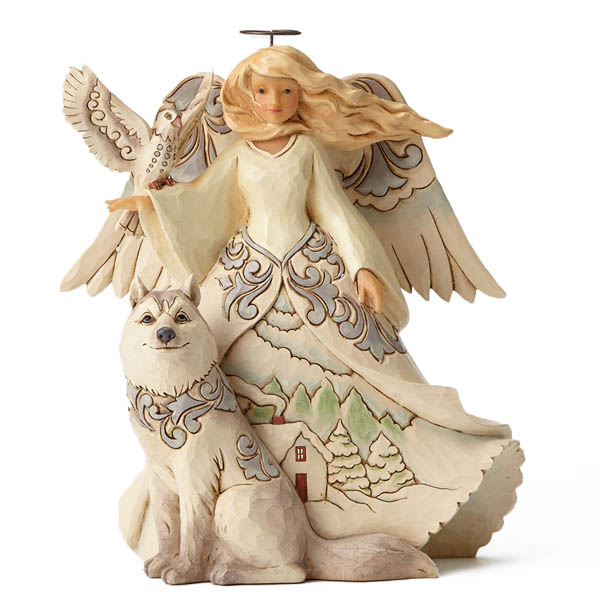 Jim Shore White Woodland Angel with Husky