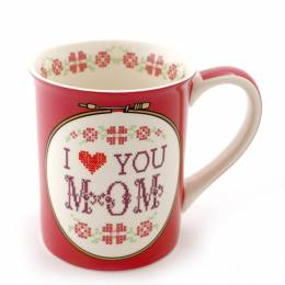 Our Name Is Mud I Heart You Mom Cross Stitch Mug