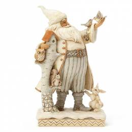 Jim Shore Woodland Santa with Birch House Figurine