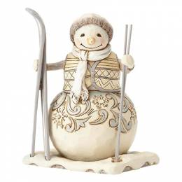 Jim Shore White Woodland Snowman with Skis Figurine
