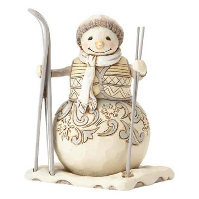 White Woodland Snowman with Skis Figurine