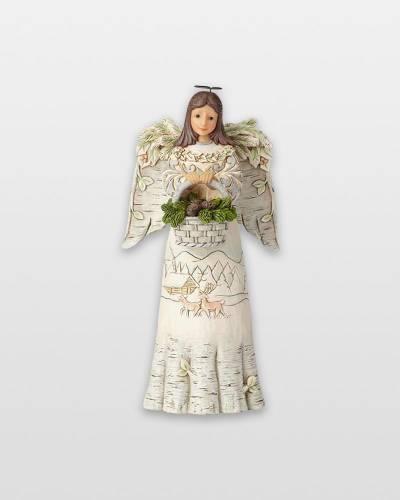 White Woodland Angel Figurine with Basket