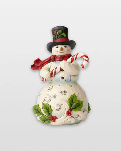 Snowman Figurine with Candy Cane