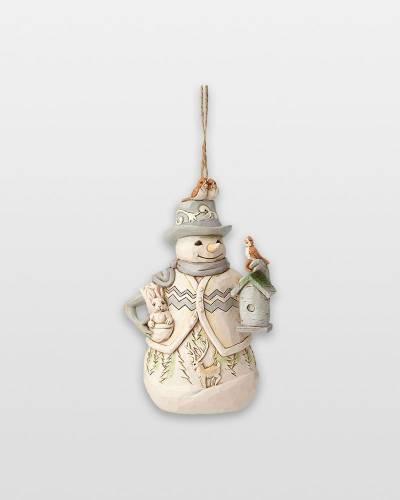 White Woodland Snowman Ornament