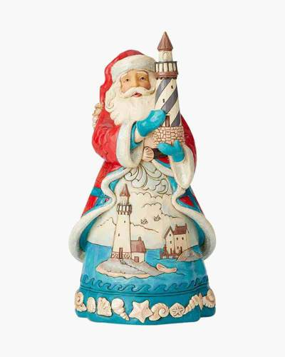 Coastal Santa with Lighthouse Figurine