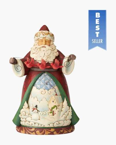 Santa with Cardinal Garland Figurine