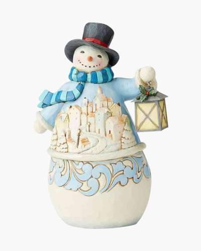 Snowman with Village Scene Figurine