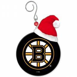 Evergreen Enterprises Boston Bruins Team Puck With Santa Hat Christmas Ornament