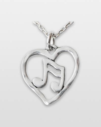 Music Note Heart Pendant Necklace