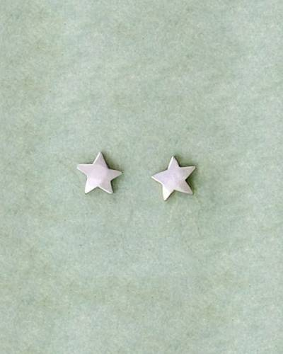 Hammered Star Earrings in Sterling Silver