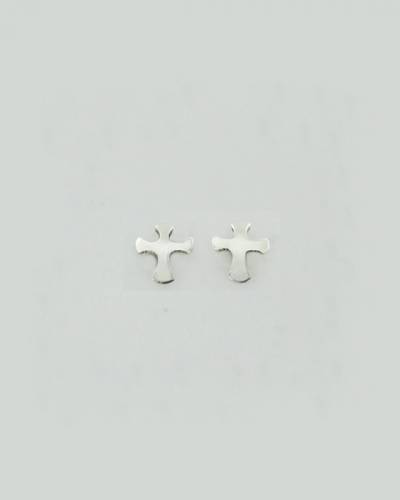 Rounded Cross Earrings in Sterling Silver