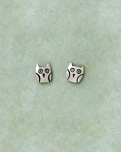 Owl Earrings in Sterling Silver