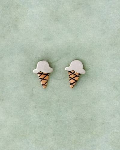 Two-Tone Ice Cream Cone Earrings in Sterling Silver