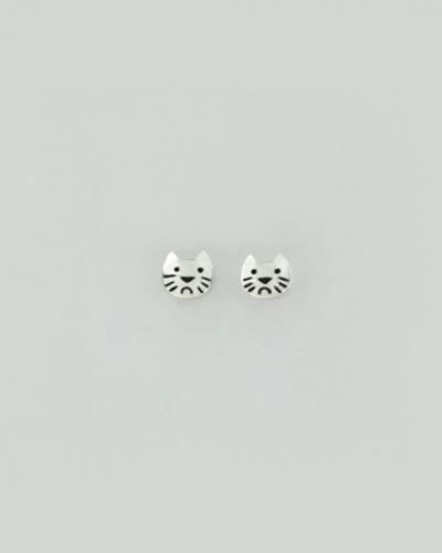 Cat Face Earrings in Sterling Silver