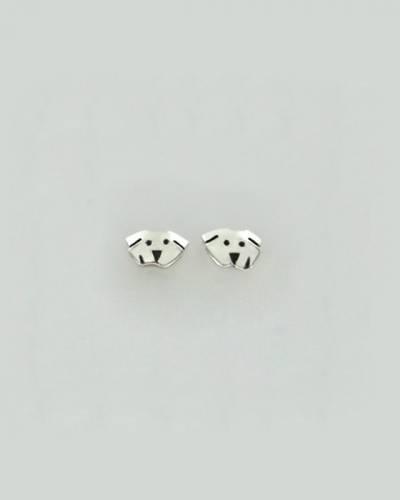 Dog Face Earrings in Sterling Silver