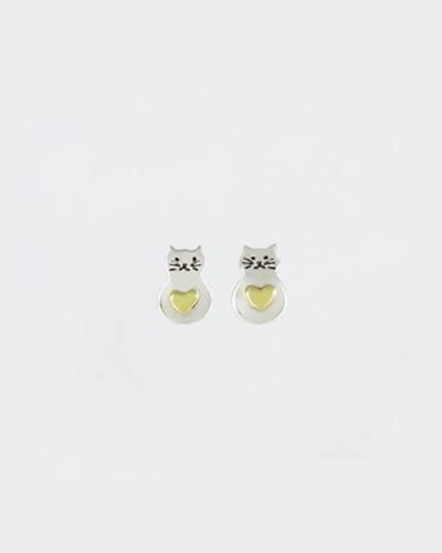 Fat Cat Heart Earrings in Sterling Silver